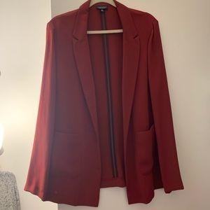 Dark red long blazer